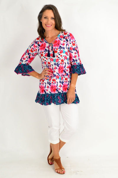 Pink Floral Inlay Print Tunic Top