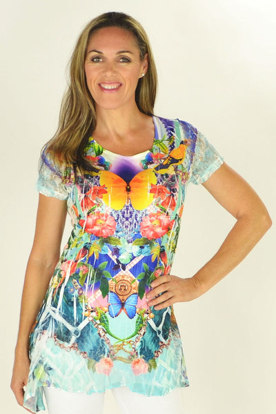 Butterfly Garden Tunic | I Love Tunics | Tunic Tops | Tunic Dresses | Women's Tops | Plus Size Australia | Mature Fashion