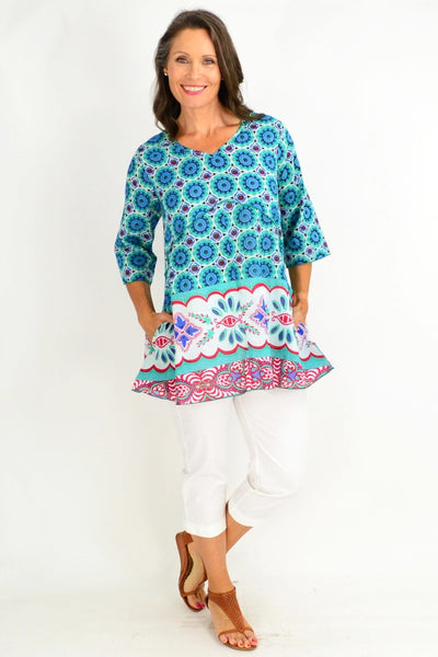 One Summer Green Aqua Tunic Top
