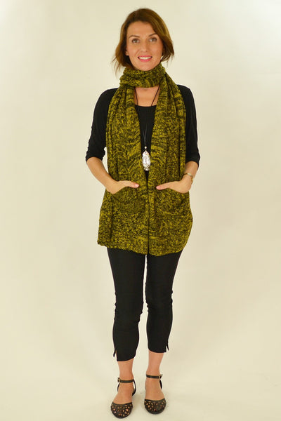 Yellow Black Pocket Scarf
