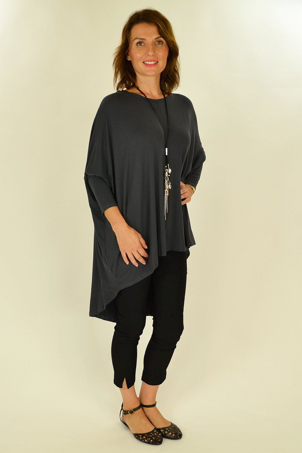 Charcoal Relaxed Renee Tunic - at I Love Tunics @ www.ilovetunics.com = Number One! Tunics Destination