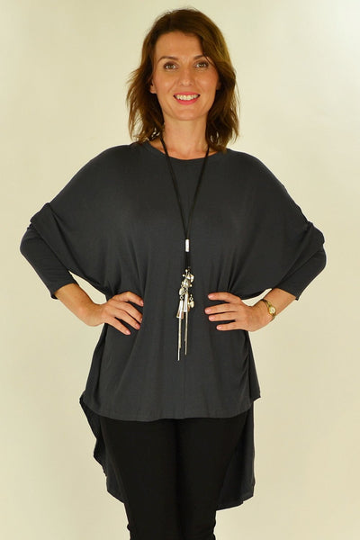 Charcoal Relaxed Renee Tunic | I Love Tunics | Tunic Tops | Tunic Dresses | Women's Tops | Plus Size Australia | Mature Fashion