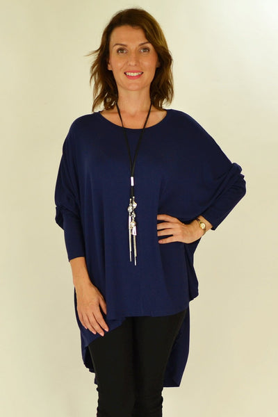 Navy Blue Relaxed Renee Tunic - at I Love Tunics @ www.ilovetunics.com = Number One! Tunics Destination