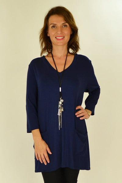 Navy Blue Penny Pocket Tunic - at I Love Tunics @ www.ilovetunics.com = Number One! Tunics Destination