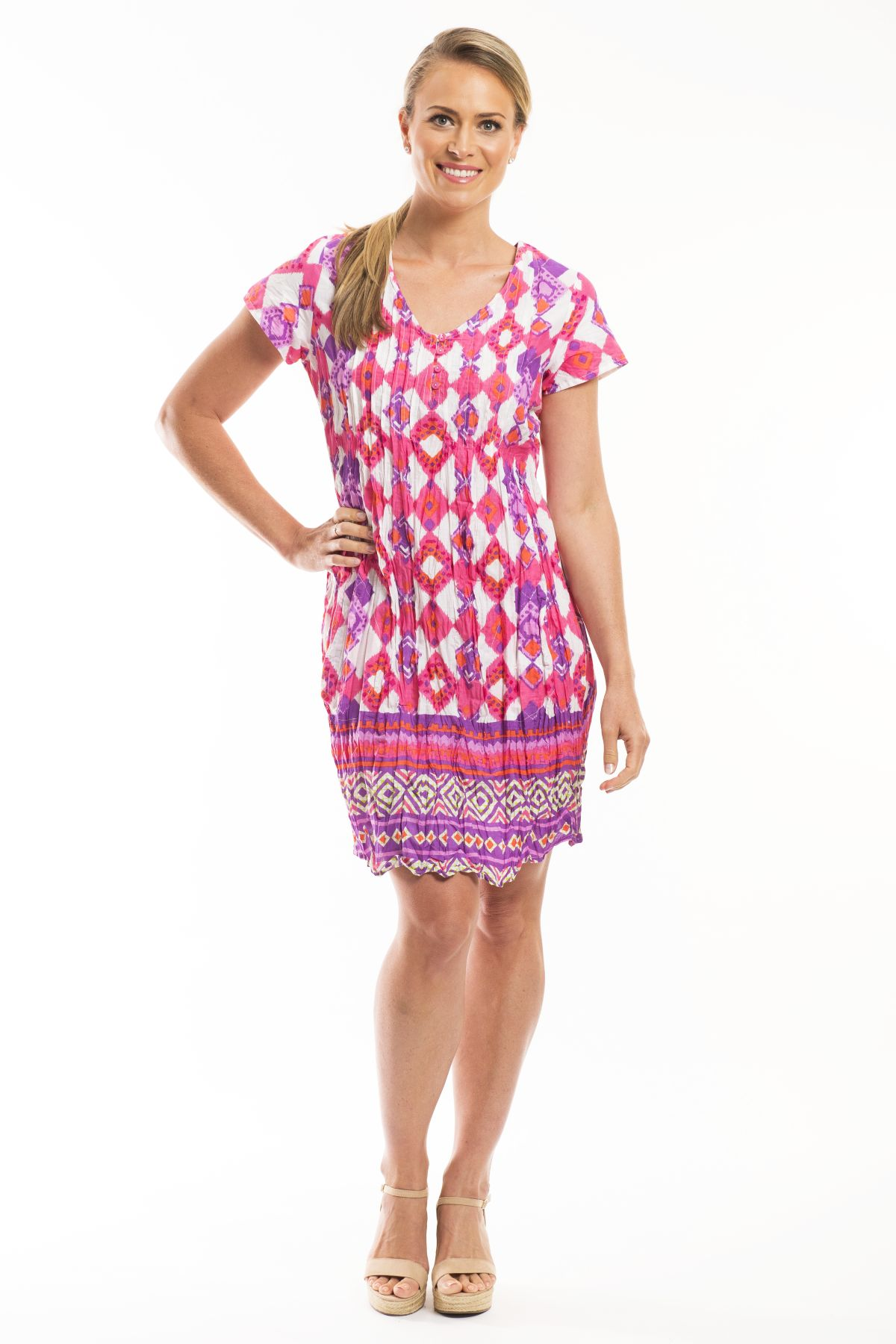 Jaipur Pink Pattern Tunic Dress - at I Love Tunics @ www.ilovetunics.com = Number One! Tunics Destination