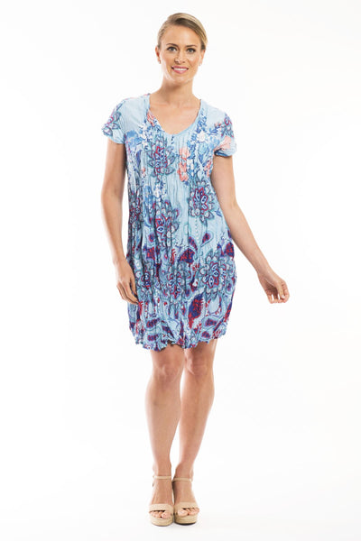 Sky Blue Floral Print Tunic Dress