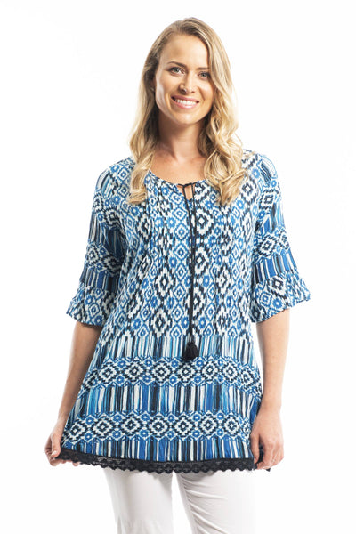 Ocean Wave Cotton Tunic Blouse