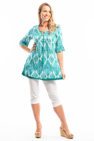Aqua Desert Sun Cotton Lace Tunic Blouse
