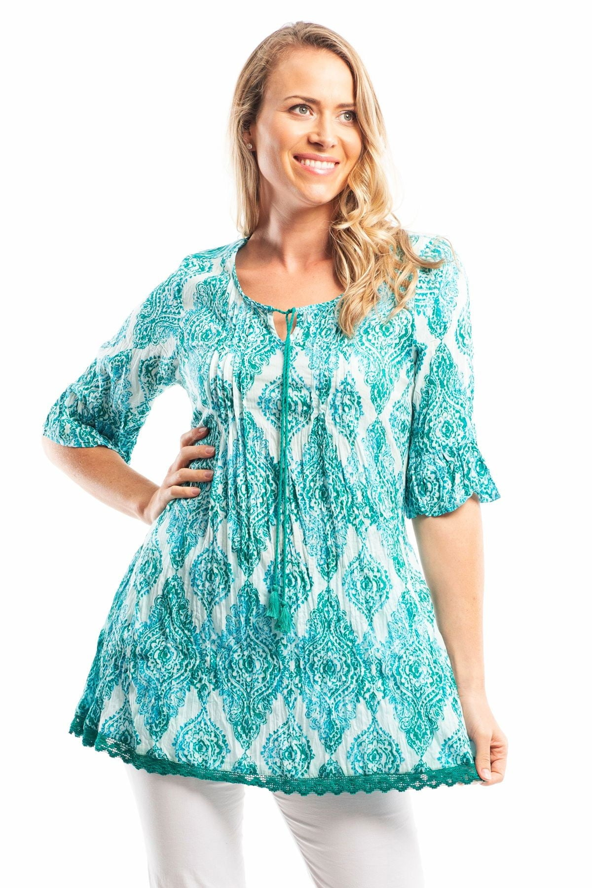 Aqua Desert Sun Cotton Lace Tunic Blouse | I Love Tunics | Tunic Tops | Tunic | Tunic Dresses  | womens clothing online