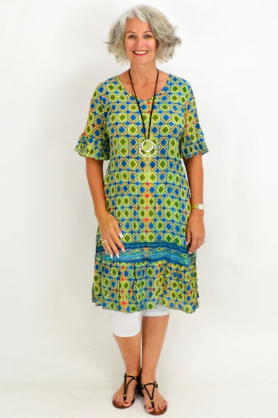 Maui Blue Green Tunic Dress