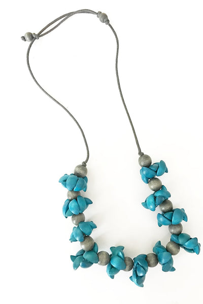 Electric Blue and grey Necklace