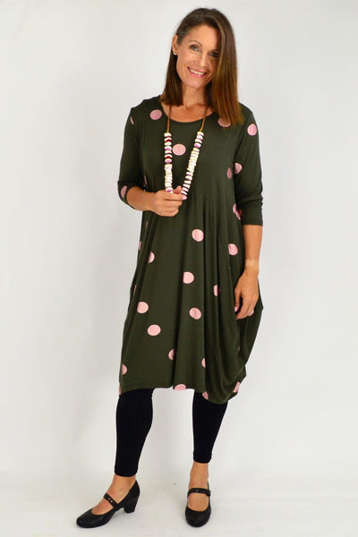 Khaki Lara Pink Spot Tunic Dress
