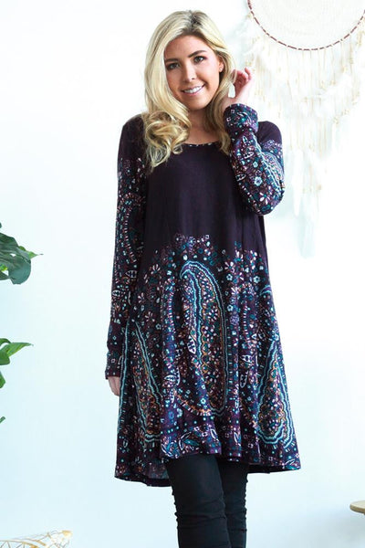 Patricia Paisley Long Tunic Dress