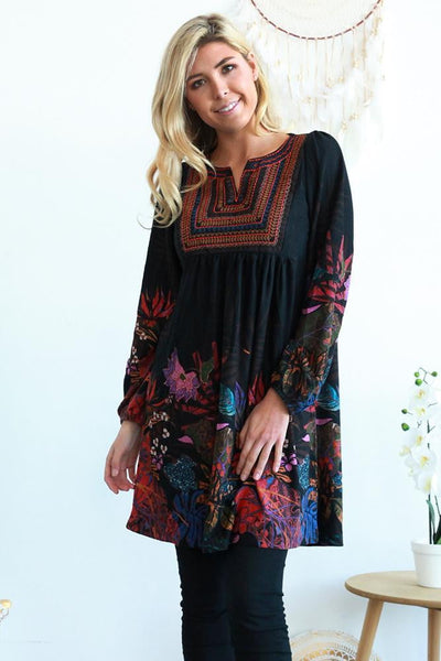 Adele Floral Long Sleeve Tunic Dress