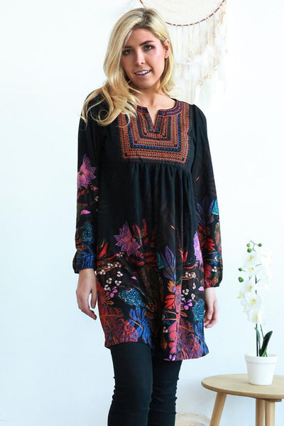 Adele Floral Long Sleeve Tunic Dress | I Love Tunics | Tunic Tops | Tunic Dresses | Women's Tops | Plus Size Australia | Mature Fashion