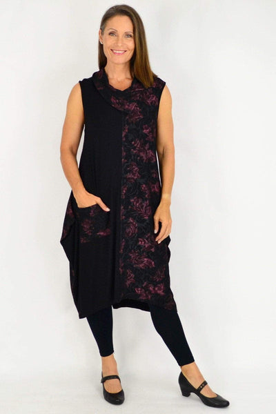 Wine Red Autumn Leaves Sleeveless Tunic Dress | I Love Tunics | Tunic Tops | Tunic | Tunic Dresses  | womens clothing online