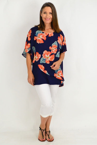 Becca Floral Overlay Tunic Top