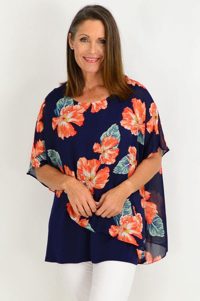 Becca Floral Overlay Tunic Top | I Love Tunics | Tunic Tops | Tunic Dresses | Women's Tops | Plus Size Australia | Mature Fashion