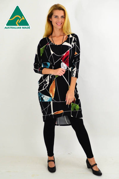 Black Abstract Hi Low Tunic Dress | I Love Tunics | Tunic Tops | Tunic | Tunic Dresses  | womens clothing online