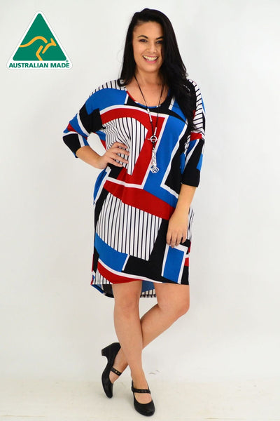 Lines & Stripes Hi Low Tunic Dress