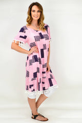 Penny's Pink Short Sleeve Pocket Tassel Tunic Dress