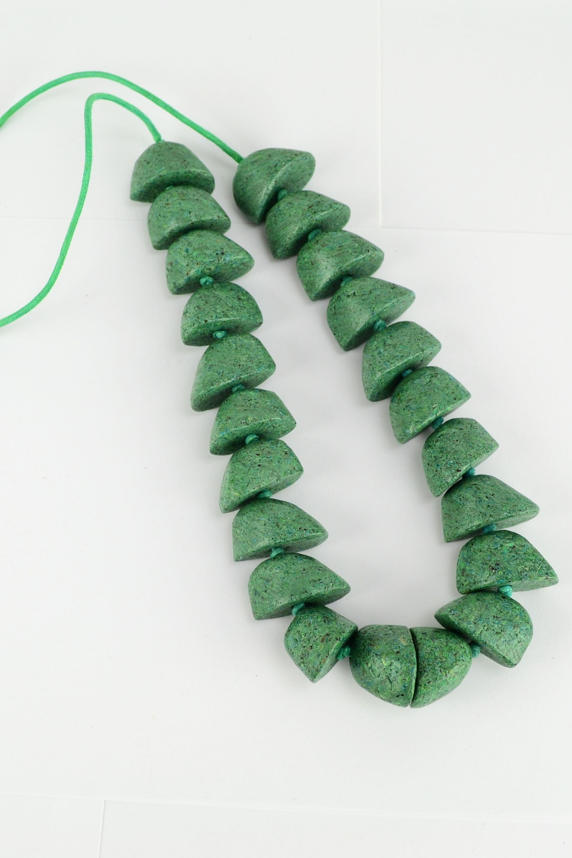 Green Recycled Wood Necklace