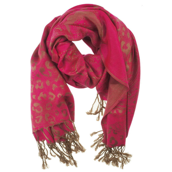 Pink Golden Pashmina Scarf - at I Love Tunics @ www.ilovetunics.com = Number One! Tunics Destination