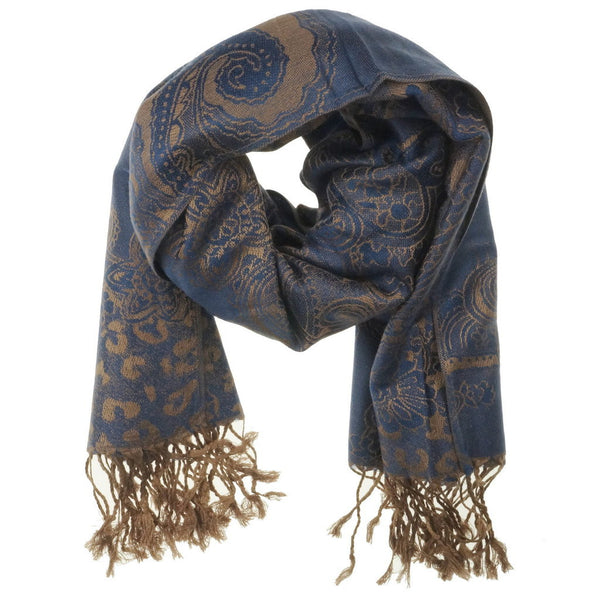 Navy Golden Pashmina Scarf - at I Love Tunics @ www.ilovetunics.com = Number One! Tunics Destination