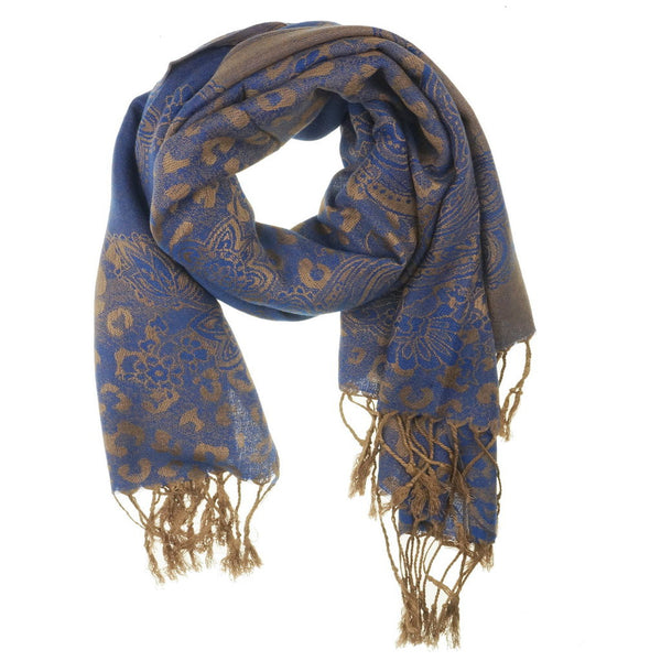 Royal Blue Golden Pashmina Scarf | I Love Tunics | Tunic Tops | Tunic | Tunic Dresses  | womens clothing online
