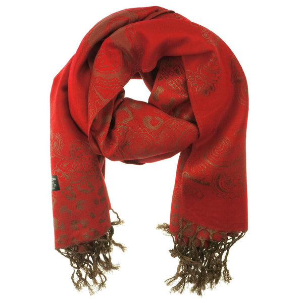 Red Golden Pashmina Scarf - at I Love Tunics @ www.ilovetunics.com = Number One! Tunics Destination