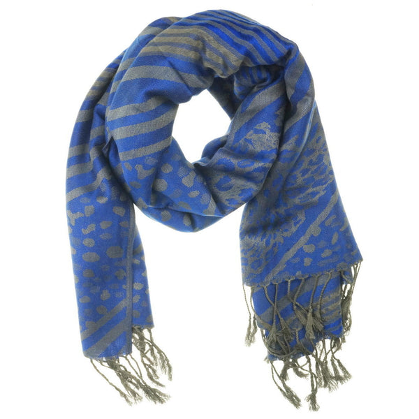 Royal Blue Silver Pashmina Scarf - at I Love Tunics @ www.ilovetunics.com = Number One! Tunics Destination
