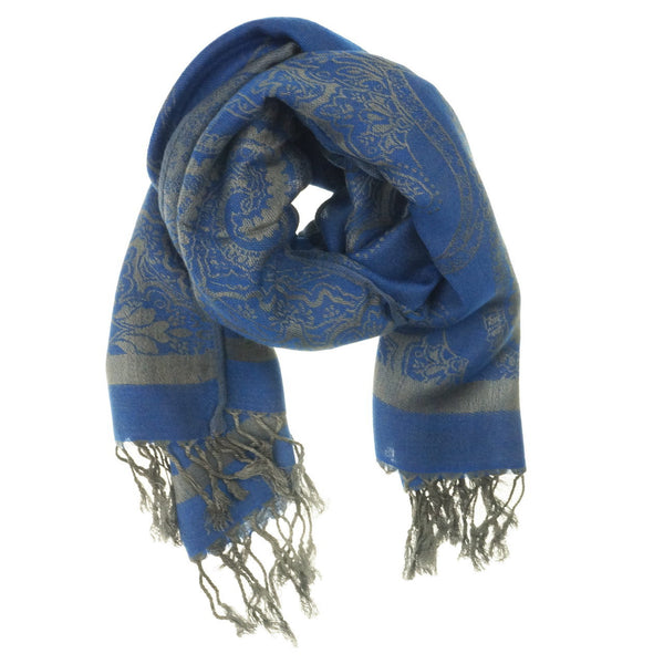 Royal Blue Paisley Pashmina Scarf