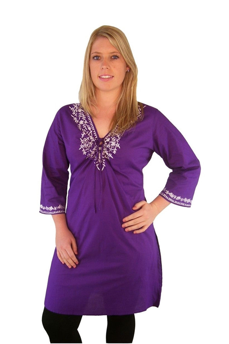 Long Purple Cotton Tunic - at I Love Tunics @ www.ilovetunics.com = Number One! Tunics Destination