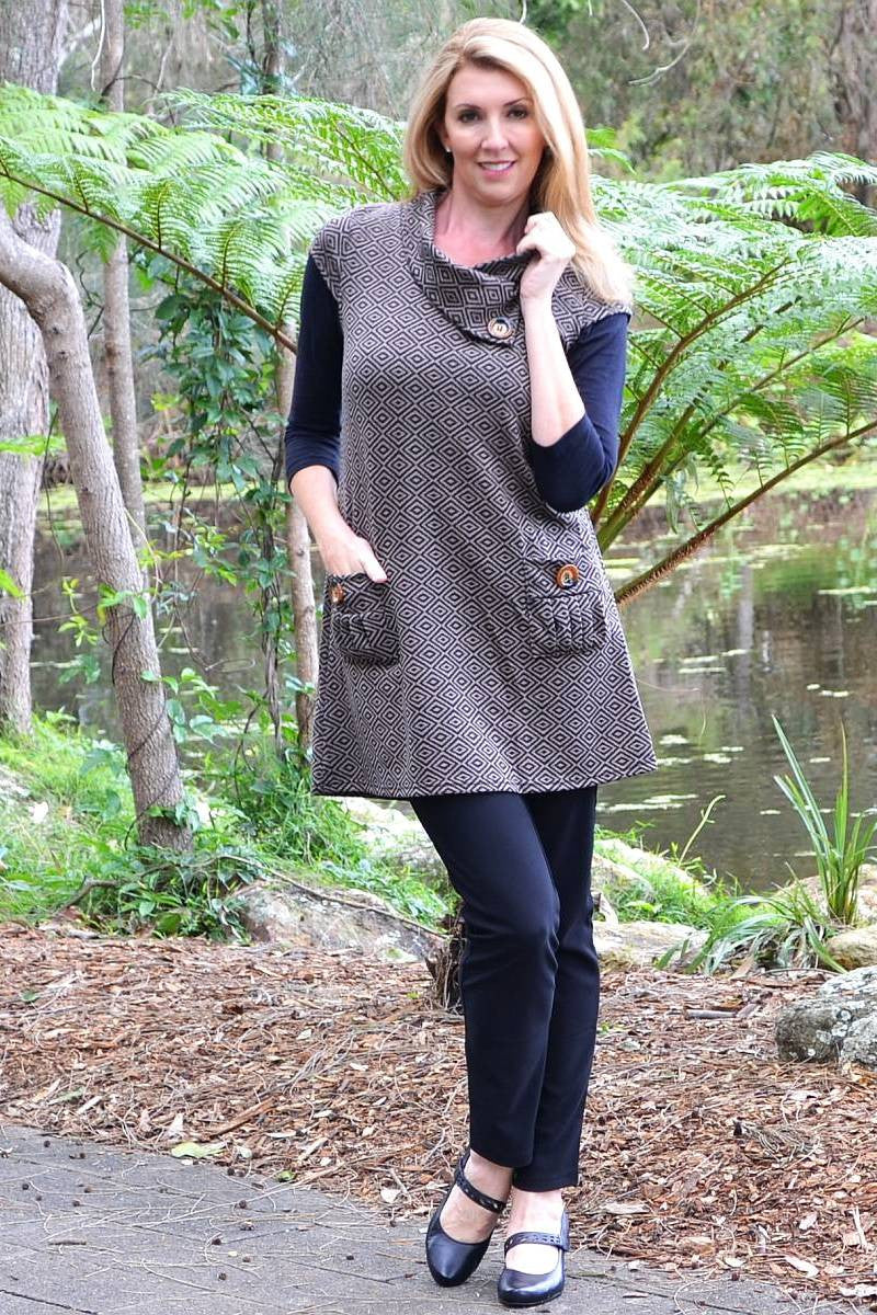 Coffee Paula Tunic | I Love Tunics | Tunic Tops | Tunic Dresses | Women's Tops | Plus Size Australia | Mature Fashion