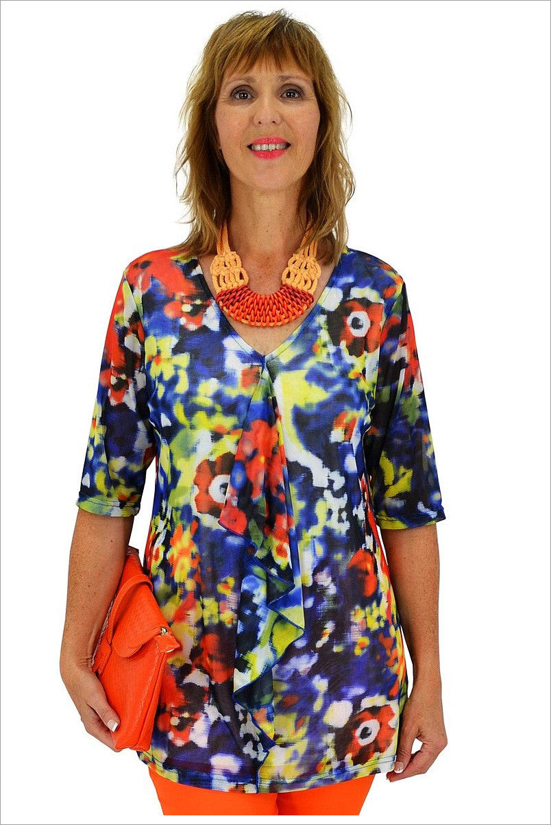 Blue Ruffle Tunic - at I Love Tunics @ www.ilovetunics.com = Number One! Tunics Destination