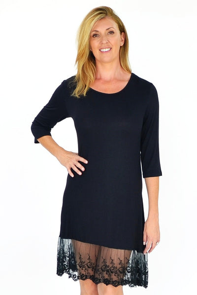 Black 3/4 Sleeve Lace Trim Slip - I Love Tunics @ www.ilovetunics.com