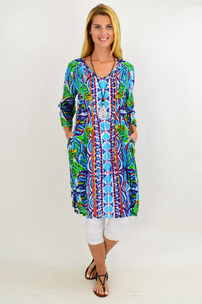 Blue Pattern One Summer Tunic Dress