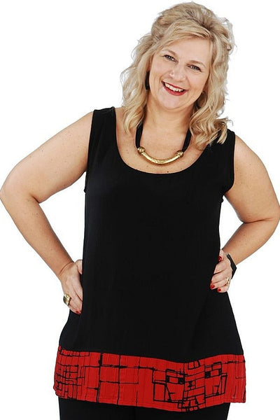 Black Red Sleeveless Tunic - I Love Tunics @ www.ilovetunics.com