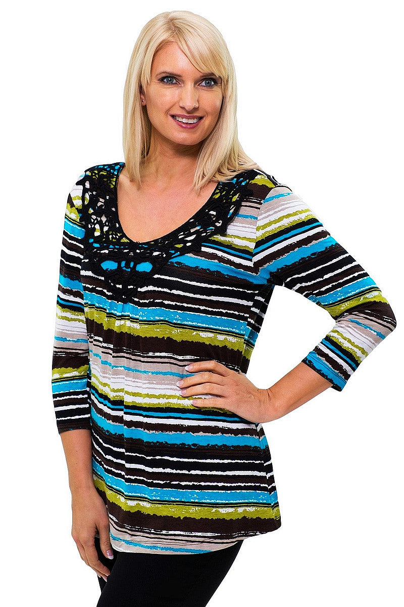 Blue Green Brown Stripe Tunic | I Love Tunics | Tunic Tops | Tunic Dresses | Women's Tops | Plus Size Australia | Mature Fashion