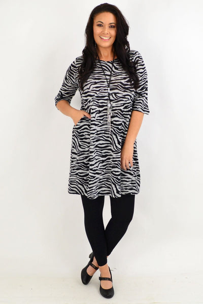 Debrah Zebra stripe Tunic Dress