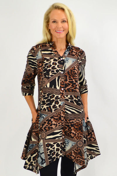 Animal Print Stand Collar Long Shirt - I Love Tunics