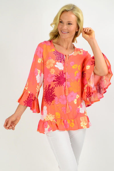 Wide Sleeve Apricot Floral Tunic Top | I Love Tunics | Tunic Tops | Tunic | Tunic Dresses  | womens clothing online
