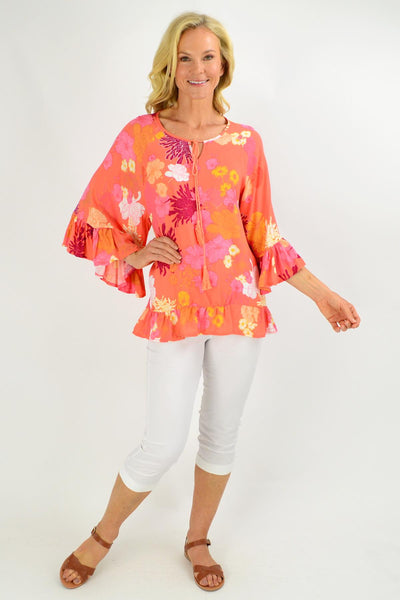 Wide Sleeve Apricot Floral Tunic Top