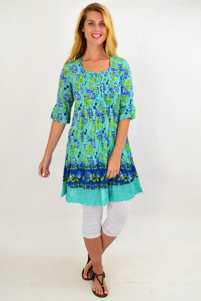 Aqua Floral Lace Trim Tunic Top