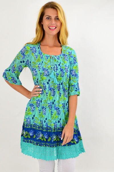 Aqua Floral Lace Trim Tunic Top | I Love Tunics | Tunic Tops | Tunic | Tunic Dresses  | womens clothing online