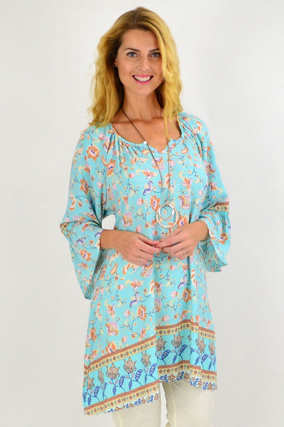 Aqua Tan Floral Light & Pretty Tunic Top | I Love Tunics | Tunic Tops | Tunic | Tunic Dresses  | womens clothing online