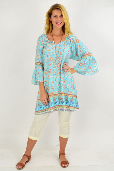 Aqua Tan Floral Light & Pretty Tunic Top