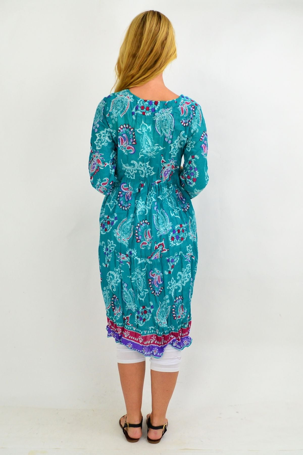 Green Paisley Tie Neck Tunic Dress | I Love Tunics | Tunic Tops | Tunic | Tunic Dresses  | womens clothing online