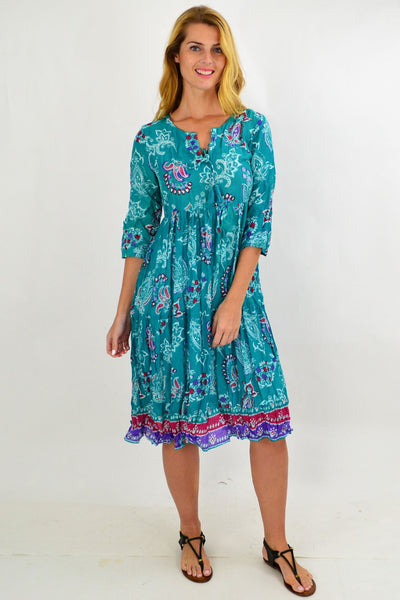Green Paisley Tie Neck Tunic Dress
