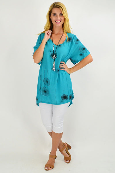 Aqua Dandelion Wish Tunic Top